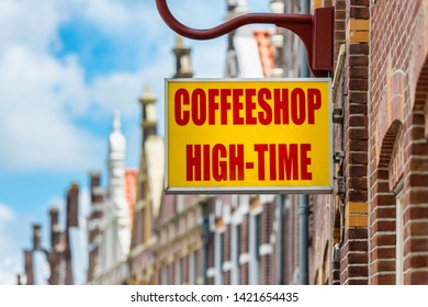 """Alkmaar, Netherlands - June 11, 2019: Coffeeshop called """"High-Time"""" in Alkmaar, Netherlands. Coffeeshops in The Netherlands are places where it is legal to purchase cannabis for personal consumption."""