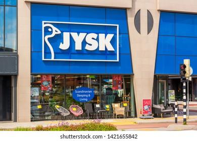 Alkmaar, Netherlands - June 11, 2019: Jysk store in Alkmaar, Netherlands. Jysk is a Danish Home Furnishings retail chain. It is active in 50 countries and has over 22,000 employees.