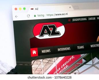 Alkmaar, The Netherlands - March 27, 2018: Homepage of Alkmaar Zaanstreek better known as AZ Alkmaar or simply AZ is a Dutch professional football club from Alkmaar and the Zaanstreek.