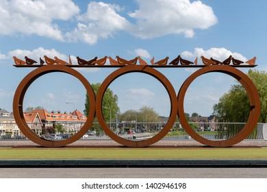 Alkmaar, The Netherlands - May 10, 2019 : Artwork on bridge in Alkmaar