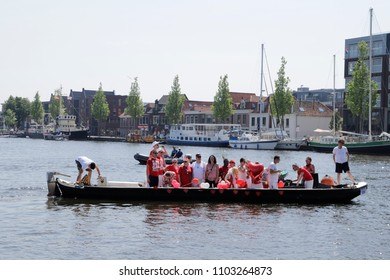 Alkmaar Netherlands May 26 2018 Alkmaar pride the canal parade yearly event