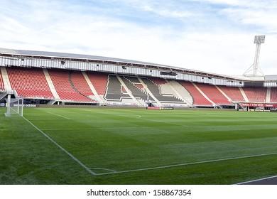 ALKMAAR, NETHERLANDS - OCT 03: Interior view of the empty AFAS Stadion on October 03, 2013 in Alkmaar, Netherlands. AFAS Stadion is the home base of the football team AZ Alkmaar.