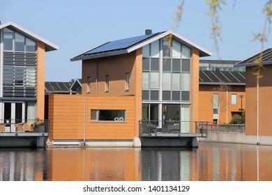 Alkmaar, North Holland / Netherlands; 05-01-2013 : View of buildings on the banks of a canal in Alkmaar.