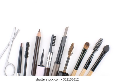 all about eyebrows makeup tools ,eyebrows equipment on white background