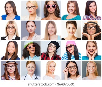 All about femininity. Collage of diverse multi-ethnic and mixed age woman expressing different emotions