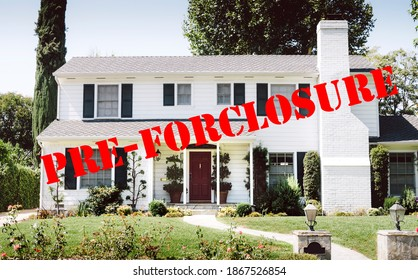 All American home with a marking of Pre-Forclosure - White Home - Suburbs - Forbearance