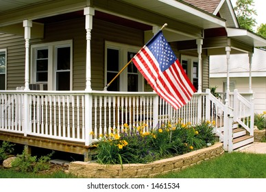 All American house flying the flag for Independence Day