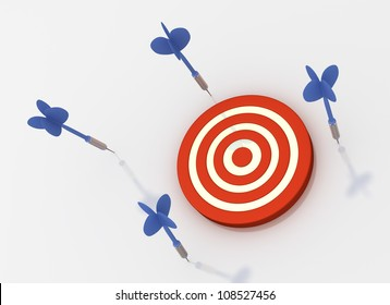 All Arrows Missed Target (Isolated on White Background)