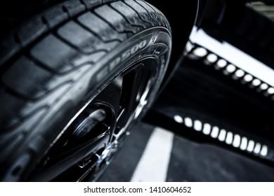 All Black Car Tire. Car Parking