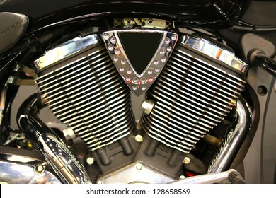 All chromed V-Twin cylinder head