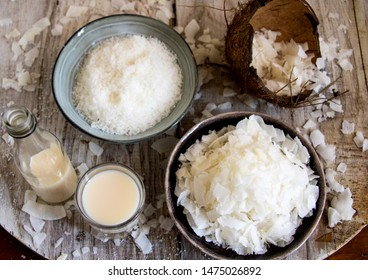 all of the coconut nut, chips, milk and flour