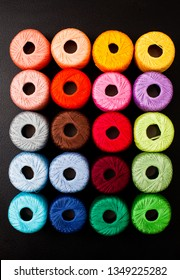 All colors yarn for knitting. Skeins of yarn.