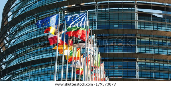 All EU members flags in front of the European Parliament in Strasbourg, France