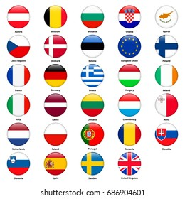 All flags of the countries of the European Union. Round glossy style.