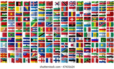 All the flags of the world, isolated on white.