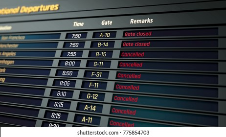 All flights canceled on airport information board, terrorism threat, security