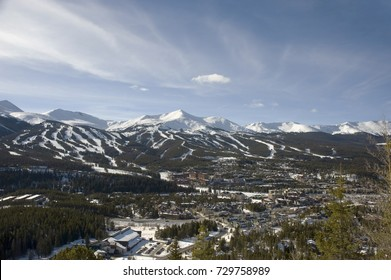 All four peaks of Breckenridge Ski Resort at the height of the ski season - these snow covered mountains provide acres and acres of ski terrain.  The resort consists mainly of four mountains.