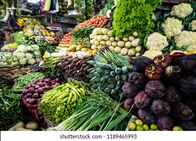 All kinds of asian vegetable on a market in sri lanka