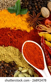 All kinds of spice and flavoring ingredients arranged beautifully