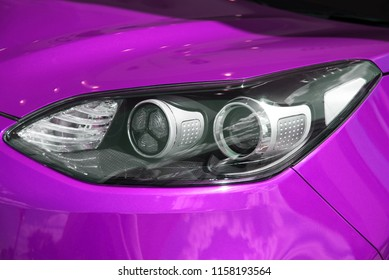 All the LED adaptive lights of a modern car. The front light bulb of the passing and driving light of a bright car.