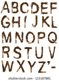 all letter from the alphabet written with destroyed cigarettes