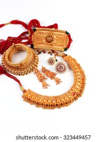 Indian Jewelry Isolated On White Background Stock Photo Royalty