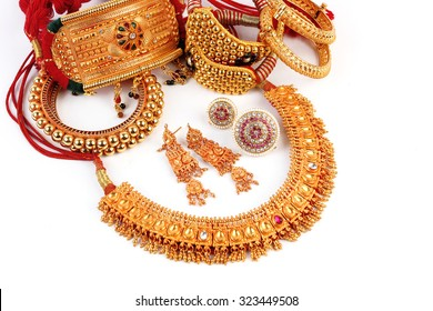 All Mix Indian Traditional Gold Jewellery Isolated On White