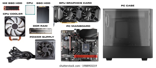 All parts and components for modern desktop computer. Mainboard power supply RAM M2 SSD hard disk CPU fan cooler graphics card and midi tower pc case isolated white background