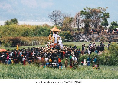 All People in Batur Village are giving an Offering at Ngaben, or Cremation Ceremony, a funeral ritual performed in Bali to send the deceased to the next life. January 2020, Bali - Indonesa