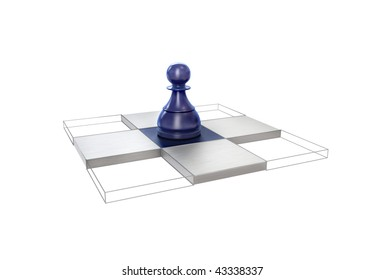 All possible moves of the pawn are visualized