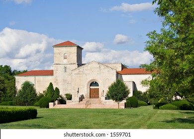 An all purpose church located on cemetery grounds.
