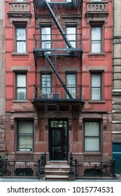 All red brick apartment building in Greenwich Village, New York City