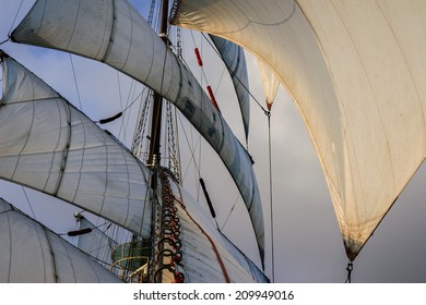 all sails raised -  favorable wind and ight