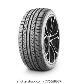 All Season Passenger Car Tire Isolated on White Background. Side View of High Performance Car Wheel. Modern Vehicle Rim. Black Rubber Truck Tyre. Clipping Path