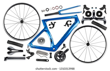all single parts components of blue black modern aerodynmic carbon fiber racing sport road bike bicycle racer isolated on white background