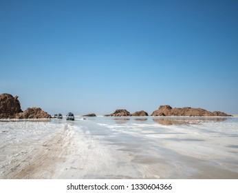All terrain vehicles traval on the saline land of Dallol, Ethiopia