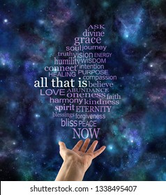 ALL THAT IS word tag cloud deep space background - dark blue night sky with female hand offering an ALL THAT IS word cloud floating up to the top