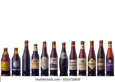 "All Trappists Beer Bottles Isolated White Background  ""illustrative editorial"""