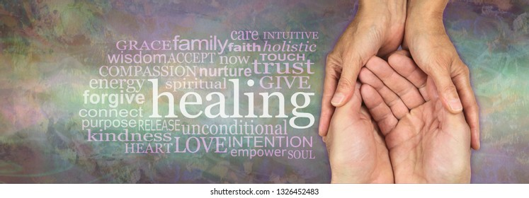 All I want to do is help you heal - Female hands gently cupped around male open hands on a rustic muted multicoloured stone effect background with a HEALING word cloud