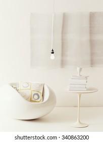 all white mod 1960's room