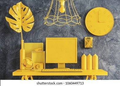 All yellow office workspace concept in modern designer interior with dark gray walls