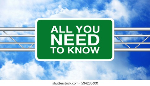 All You Need To Know concept written on a billboard. Highway Road Sign with a blue cloudy sky in a background