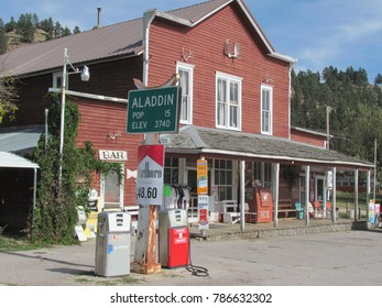 Alladin, WY / USA - Oct 10 2015: The tiny town of Alladin in northeast Wyoming doesn't consist of much more than a general store and gas station.