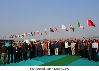 Allahabad: Central minister B.K. Singh along with Head of missions of 71 country poses fo photo during they visit kumbh at Arail in Allahabad on 15-12-2018.