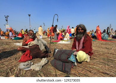 ALLAHABAD - FEB 08: A Sadhu looks as he come to take the holy bath at Kumbh Mela ground on February 08, 2013 in Allahabad, India. Kumbh Mela is considered as the largest human gathering in the world.