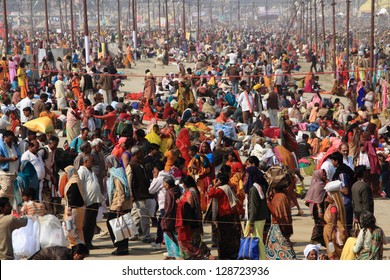 ALLAHABAD - FEB 09: Huge crowd camp at the Kumbh Mela grounds for taking holy bath on February 09, 2013 in Allahabad, India. Kumbh Mela is considered as the largest human gathering in the world.