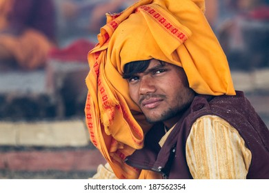 Allahabad, India- CIRCA Jan 2013 - A young brahmin priest at the Kumbha Mela in Allahabad, India, circa Jan 2013.