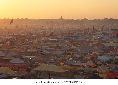 ALLAHABAD, INDIA - FEBRUARY 08, 2013: Aerial view of Maha Kumbh Mela festival camp, the world's largest religious gathering