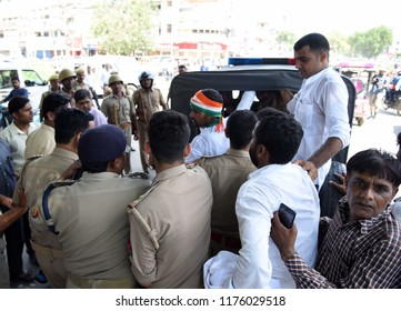 Allahabad: Police arrect NSUI worker tried to Self-destruction during Bharat Band protest against Prime minster Narendra Modi over hike price of petrolium, in Allahabad on 10-09-2018.