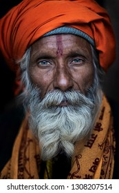 Allahabad (Prayagraj), India - January 13, 2019 : Portraits of Sadhus attending the famous Kumbh Mela. Kumbh Mela is a largest congregation in the world.These Sadhus live in a tent during festival.